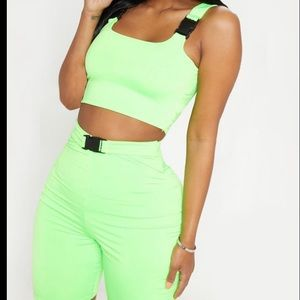 Neon Lime Buckle Strap Crop Top and Bike Shorts